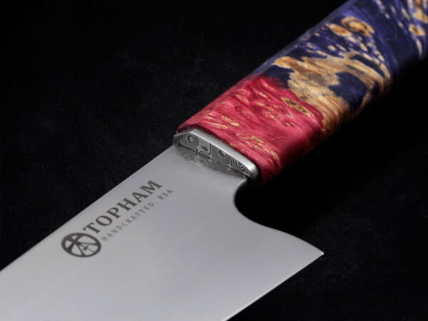 210mm Gytuo Chef knife with stainless damascus ferule and maple burl handle