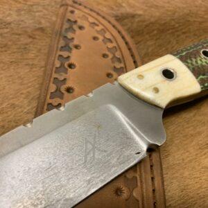 Alexander Conchar - Stonewashed Giraffe Bone Hunting Knife blade detail