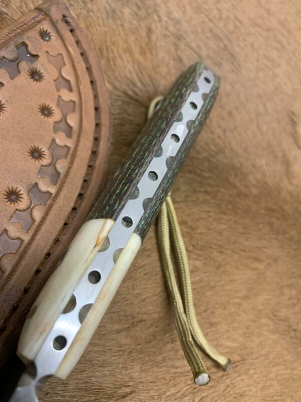 Alexander Conchar - Stonewashed Giraffe Bone Hunting Knife spine detail