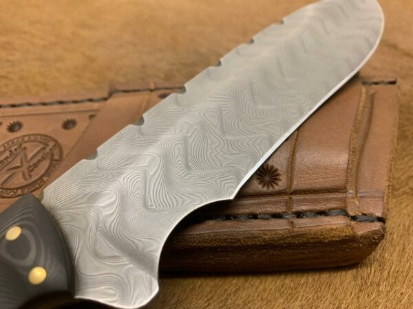 Alexander Conchar - Stainless damascus hunting knife with sheath blade close up of herring bone pattern