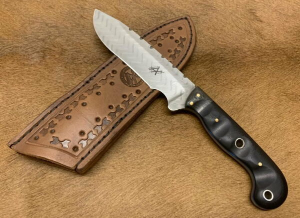 Alexander Conchar - Stainless damascus hunting knife with sheath